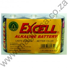 Excell D Cell (LR20) Alkaline Batteries - 3 per Shrink wrap