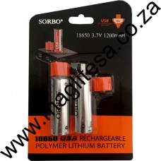 SORBO USB Rechargeable 18650 2 Pack