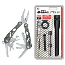 AA Mini Maglite w Acc Kit and Gerber Suspension Multi-Tool