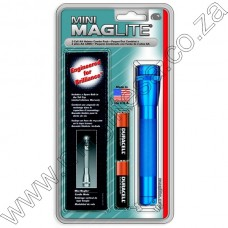 Blue Mini Maglite Holster Pack 2 Cell AA Flashlight