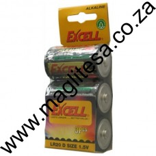Excell D Cell (LR20) Alkaline Batteries - 3 per Hang Pack