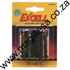 EXCELL C CELL (LR14) ALKALINE BATTERIES - 2 PER PACK