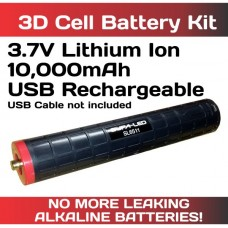 Lithium Ion 3.7V 10,000mAh Batt USB Rech for 3D Maglite