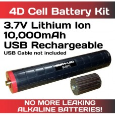 Lithium Ion 3.7V Batt w 1x D Cell Spacer for 4D Maglite